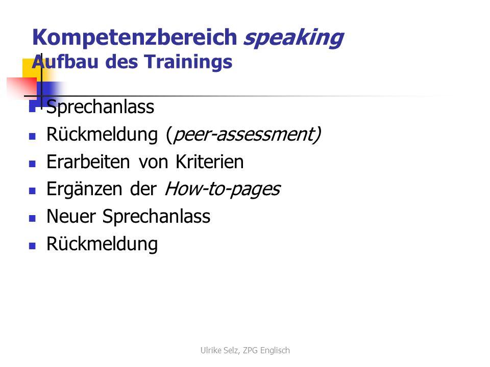 Kompetenzbereich speaking Aufbau des Trainings