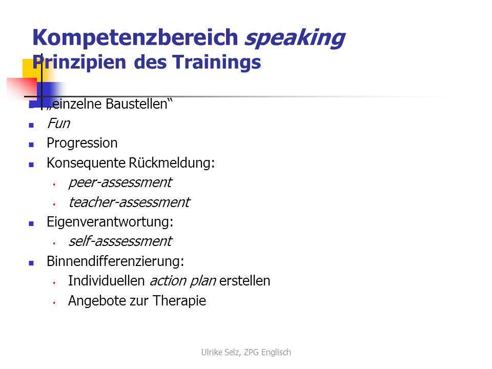 Kompetenzbereich speaking Prinzipien des Trainings
