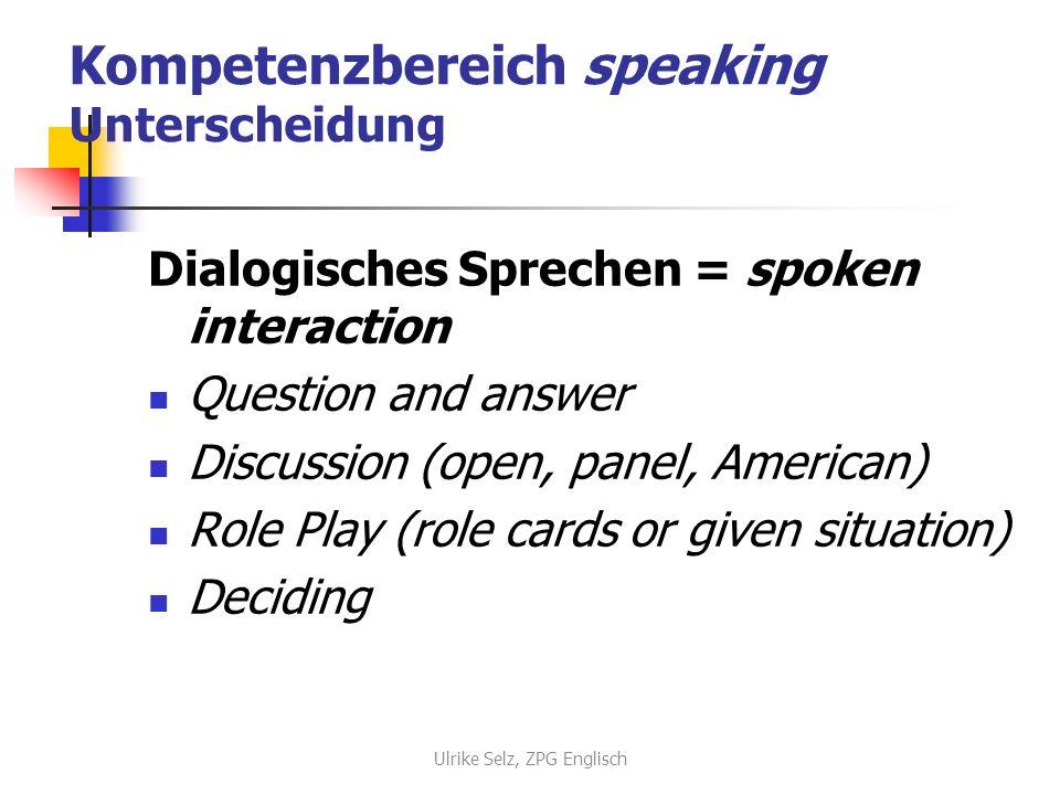 Kompetenzbereich speaking Unterscheidung