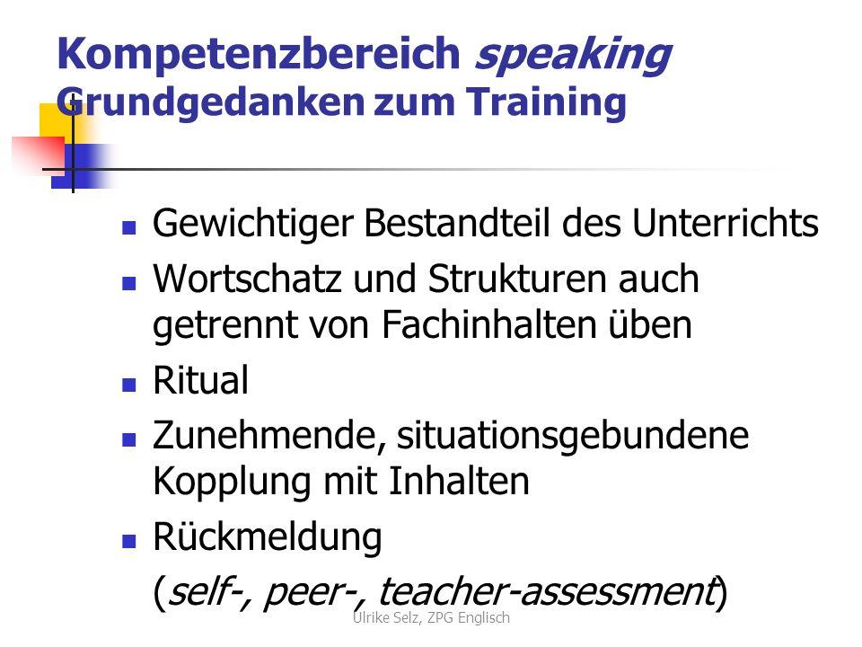 Kompetenzbereich speaking Grundgedanken zum Training