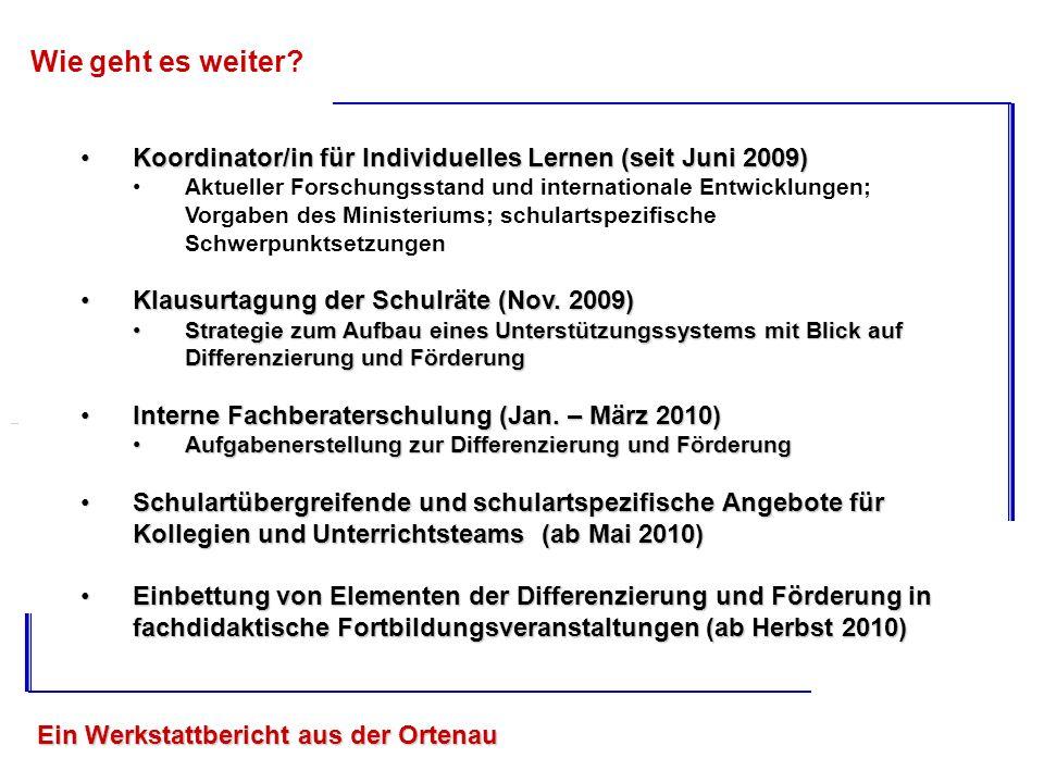 Wie geht es weiter Koordinator/in für Individuelles Lernen (seit Juni 2009)