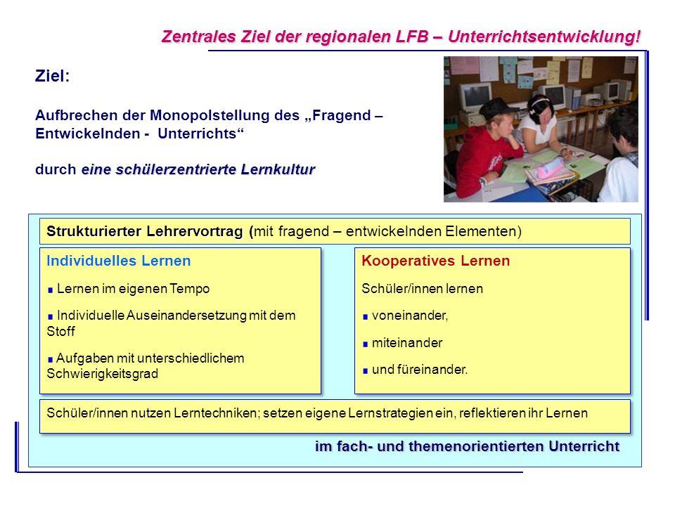 Zentrales Ziel der regionalen LFB – Unterrichtsentwicklung!