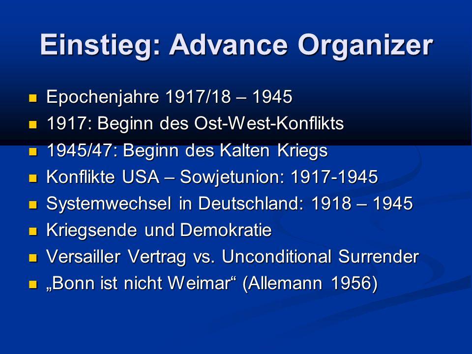 Einstieg: Advance Organizer