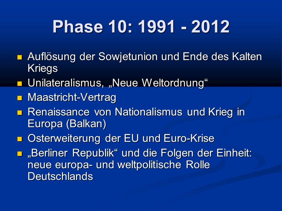 """Phase 10: 1991 - 2012 Auflösung der Sowjetunion und Ende des Kalten Kriegs. Unilateralismus, """"Neue Weltordnung"""