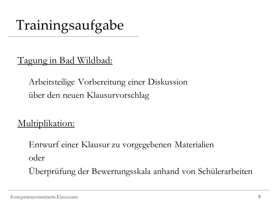 Trainingsaufgabe Tagung in Bad Wildbad: Multiplikation: