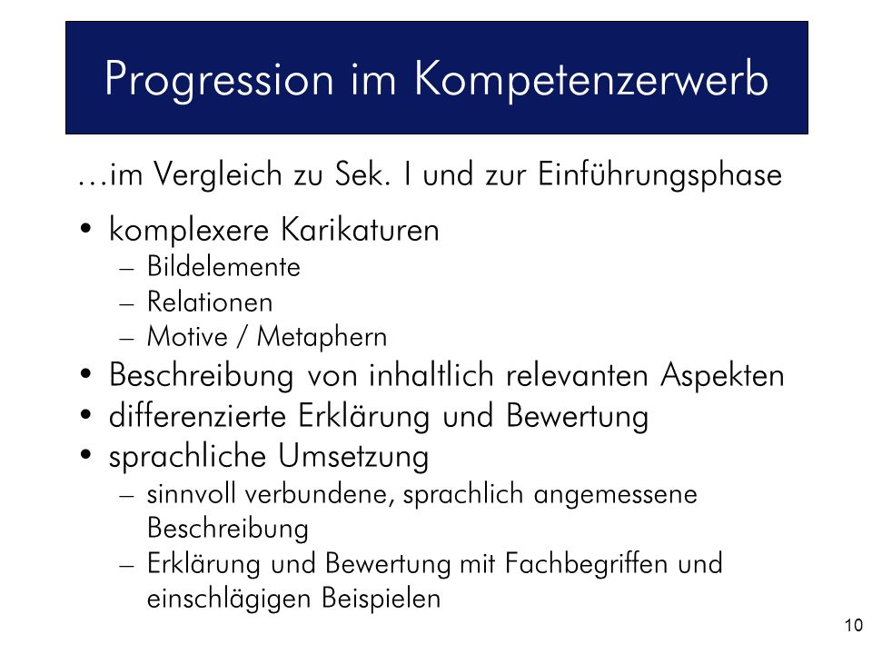 Progression im Kompetenzerwerb