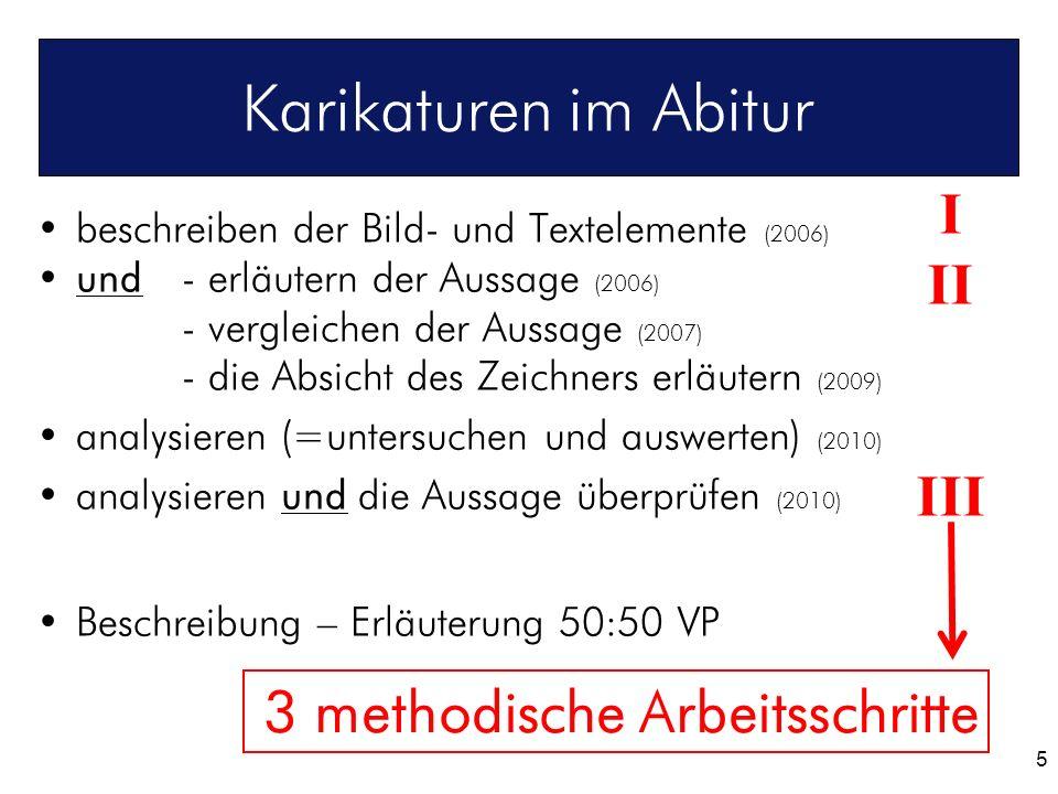 Karikaturen im Abitur I II III 3 methodische Arbeitsschritte