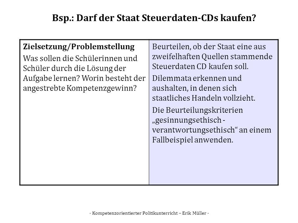 Bsp.: Darf der Staat Steuerdaten-CDs kaufen