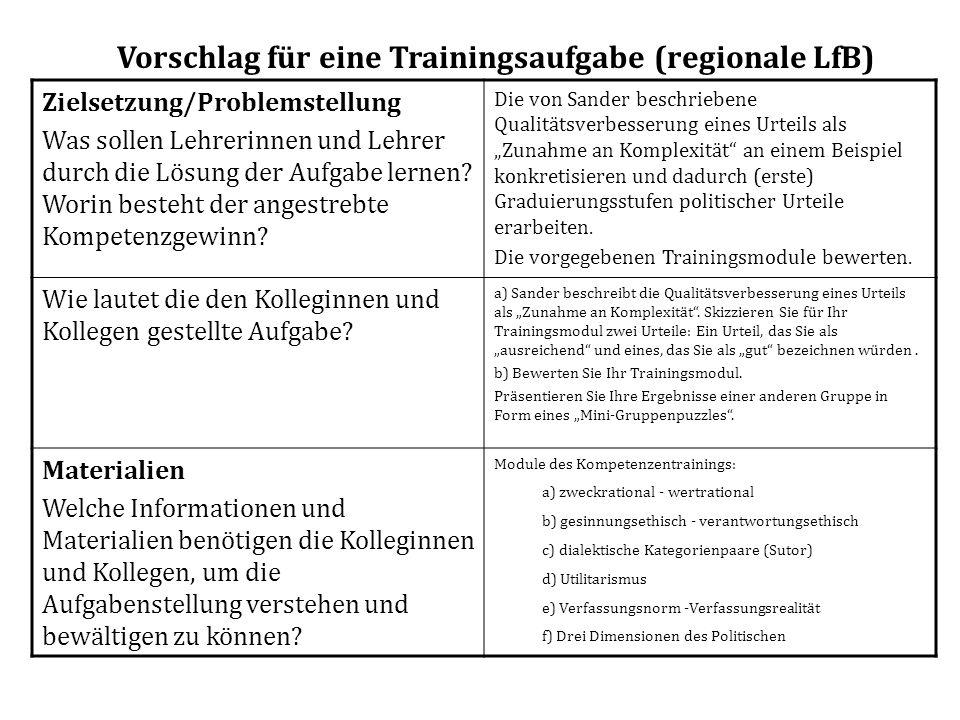 Vorschlag für eine Trainingsaufgabe (regionale LfB)