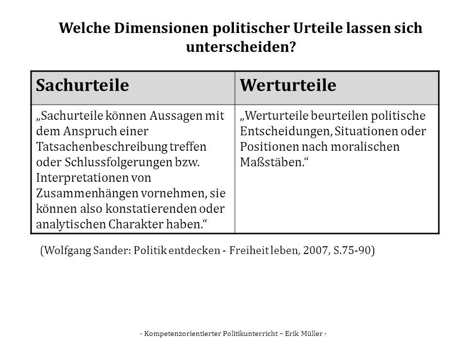 Welche Dimensionen politischer Urteile lassen sich unterscheiden
