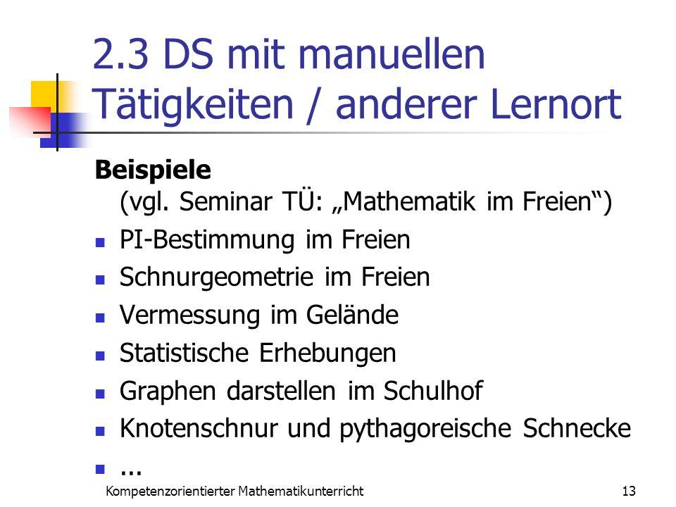 2.3 DS mit manuellen Tätigkeiten / anderer Lernort