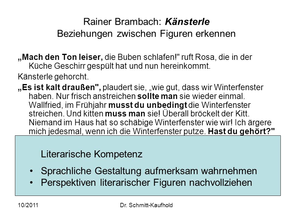 Rainer Brambach: Känsterle Beziehungen zwischen Figuren erkennen