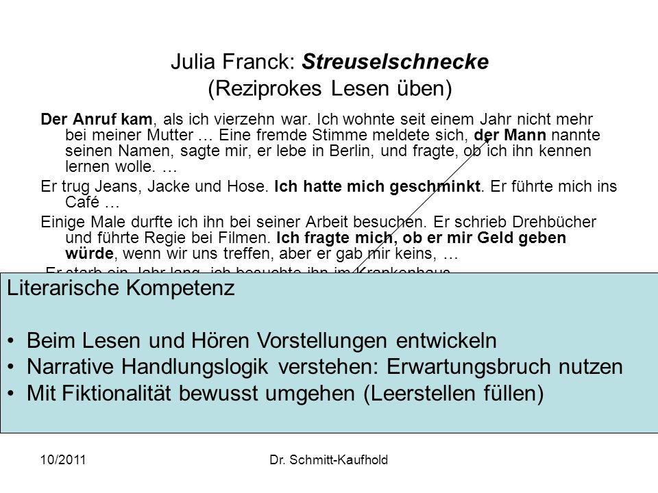 Julia Franck: Streuselschnecke (Reziprokes Lesen üben)