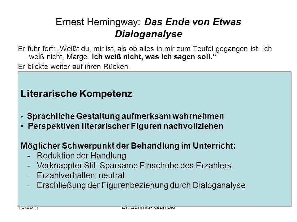 Ernest Hemingway: Das Ende von Etwas Dialoganalyse