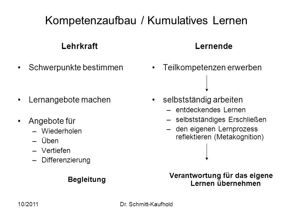 Kompetenzaufbau / Kumulatives Lernen