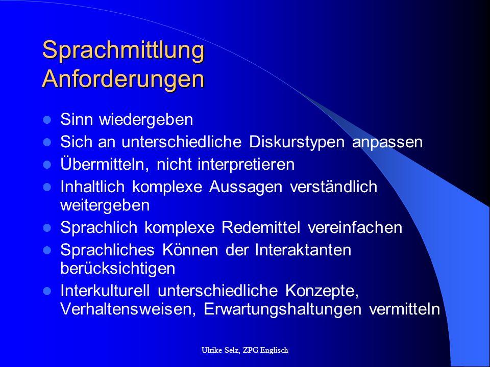 Sprachmittlung Anforderungen