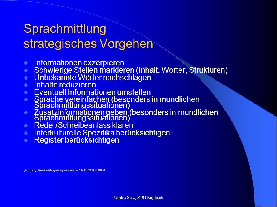 Sprachmittlung strategisches Vorgehen