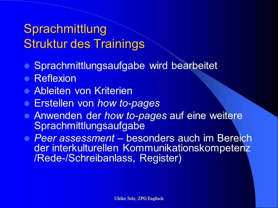 Sprachmittlung Struktur des Trainings