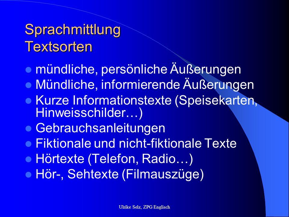 Sprachmittlung Textsorten