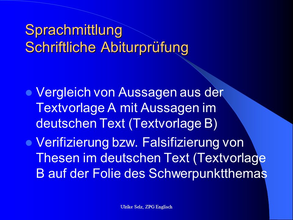 Sprachmittlung Schriftliche Abiturprüfung