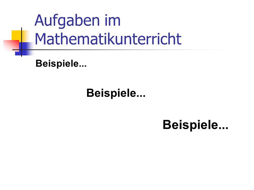 Aufgaben im Mathematikunterricht