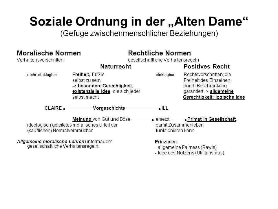 """Soziale Ordnung in der """"Alten Dame (Gefüge zwischenmenschlicher Beziehungen)"""