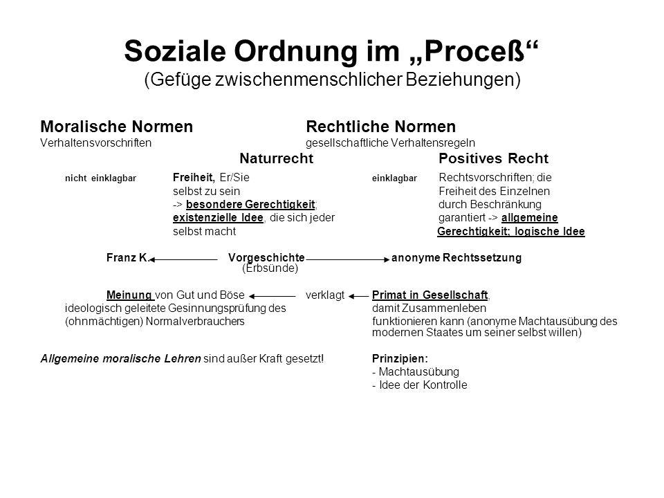 """Soziale Ordnung im """"Proceß (Gefüge zwischenmenschlicher Beziehungen)"""