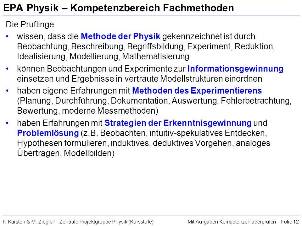 EPA Physik – Kompetenzbereich Fachmethoden
