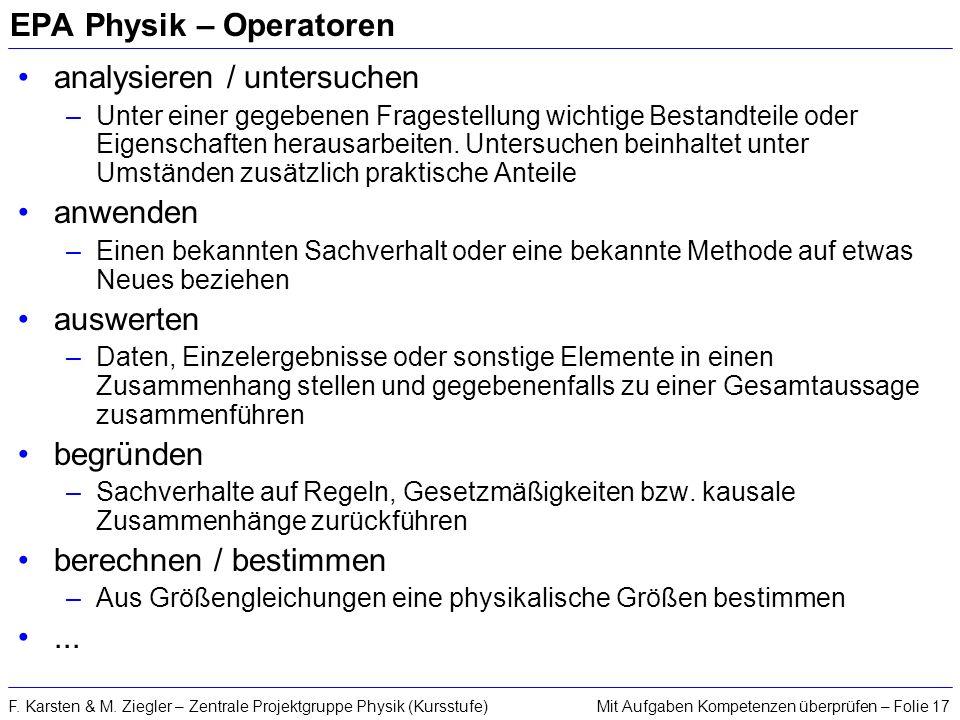 EPA Physik – Operatoren