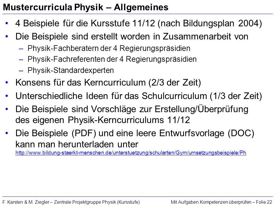 Mustercurricula Physik – Allgemeines