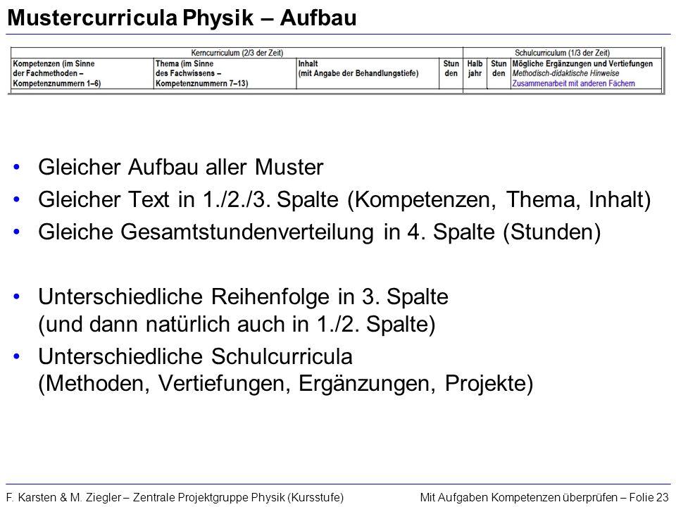 Mustercurricula Physik – Aufbau