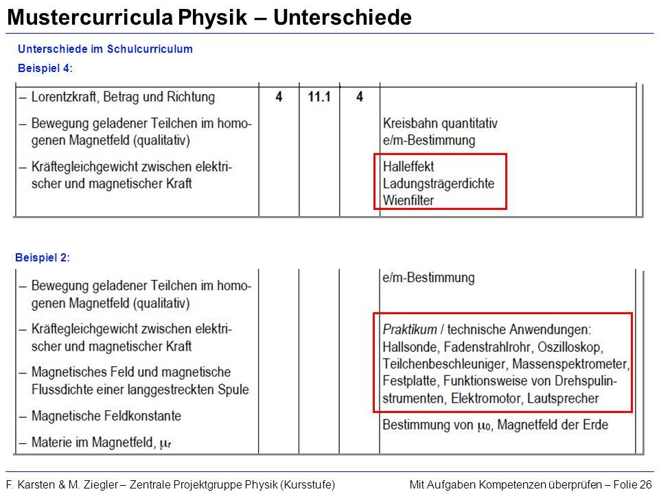 Mustercurricula Physik – Unterschiede