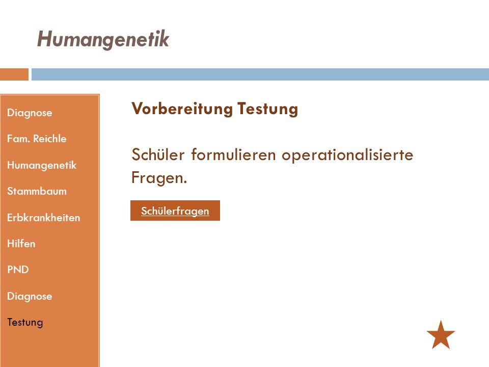 Humangenetik Diagnose. Fam. Reichle. Humangenetik. Stammbaum. Erbkrankheiten. Hilfen. PND. Testung.