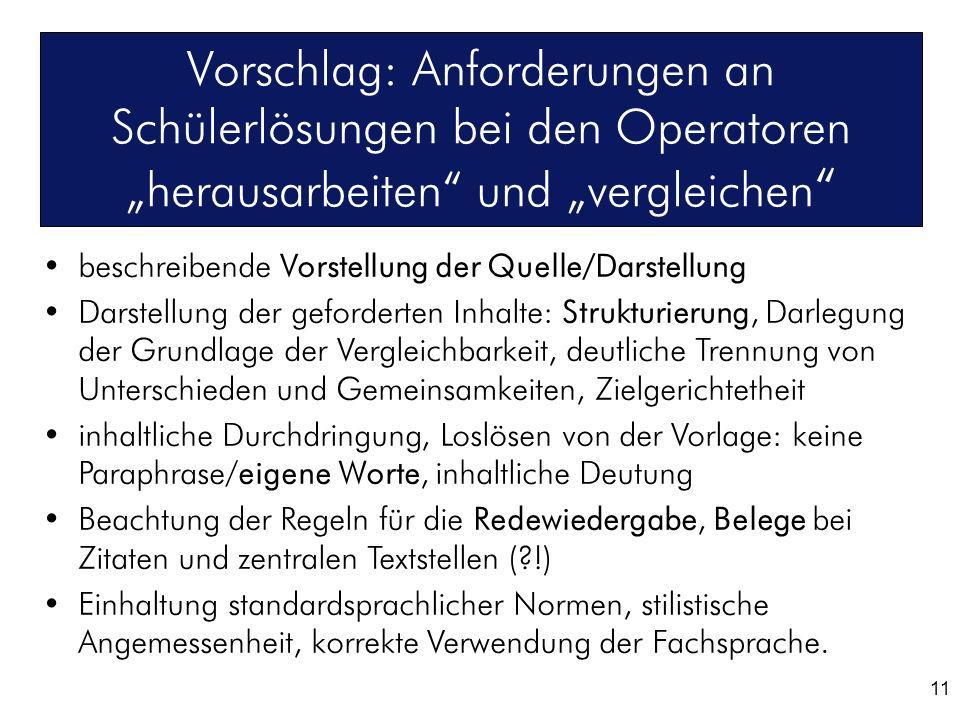 """Vorschlag: Anforderungen an Schülerlösungen bei den Operatoren """"herausarbeiten und """"vergleichen"""