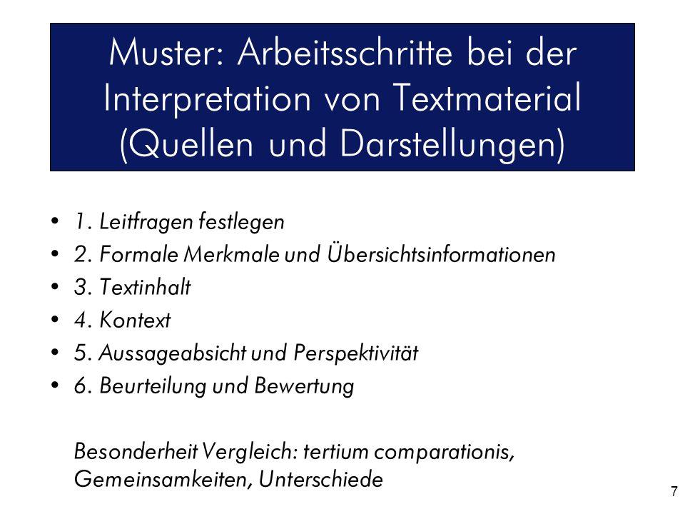 Muster: Arbeitsschritte bei der Interpretation von Textmaterial (Quellen und Darstellungen)