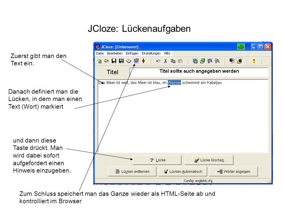 JCloze: Lückenaufgaben