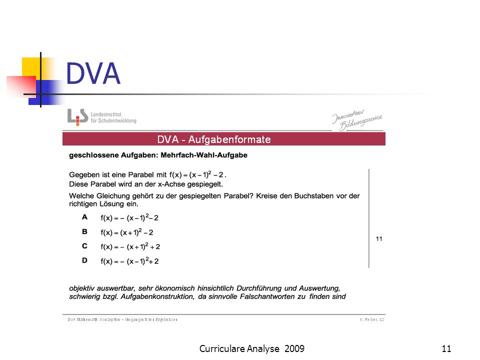 DVA Curriculare Analyse 2009