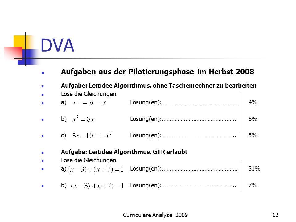 DVA Aufgaben aus der Pilotierungsphase im Herbst 2008