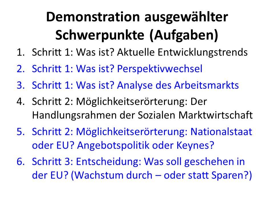 Demonstration ausgewählter Schwerpunkte (Aufgaben)