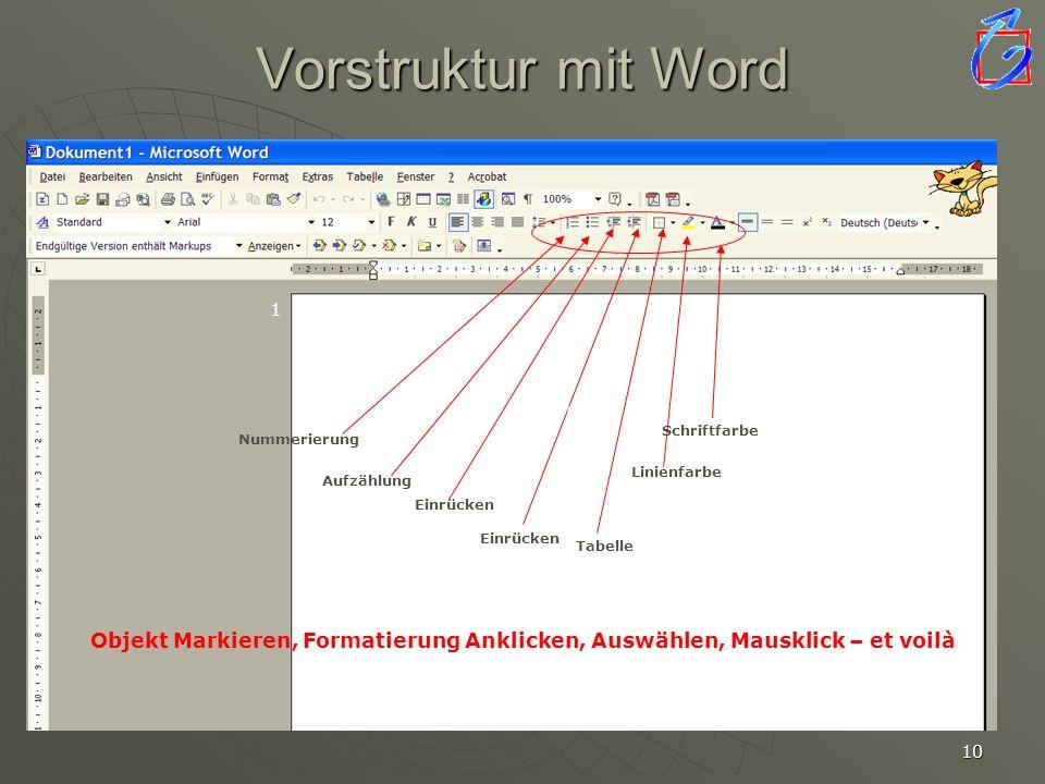 Vorstruktur mit Word 1. 2. Linienfarbe. Schriftfarbe. Nummerierung. 7. 7. 7. Linienfarbe. Aufzählung.