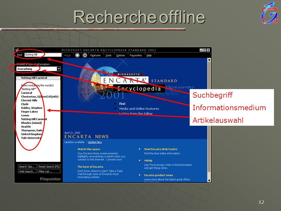 Recherche offline Nach Erstellung der Vorstruktur