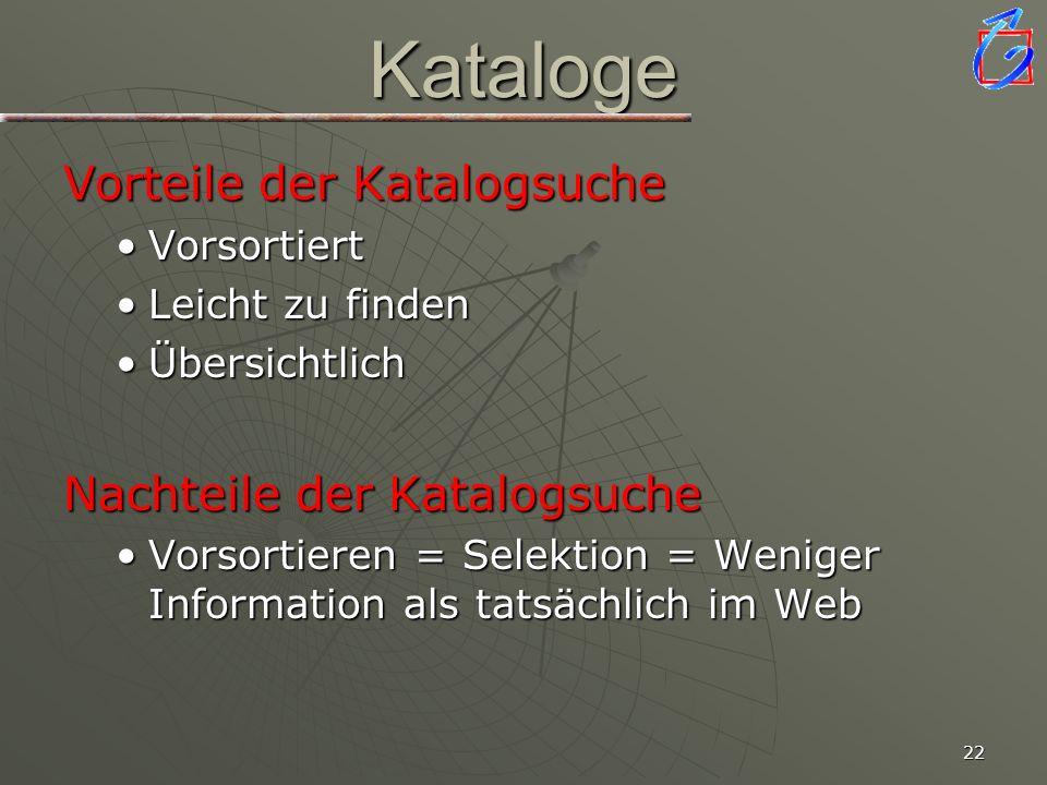 Kataloge Vorteile der Katalogsuche Nachteile der Katalogsuche
