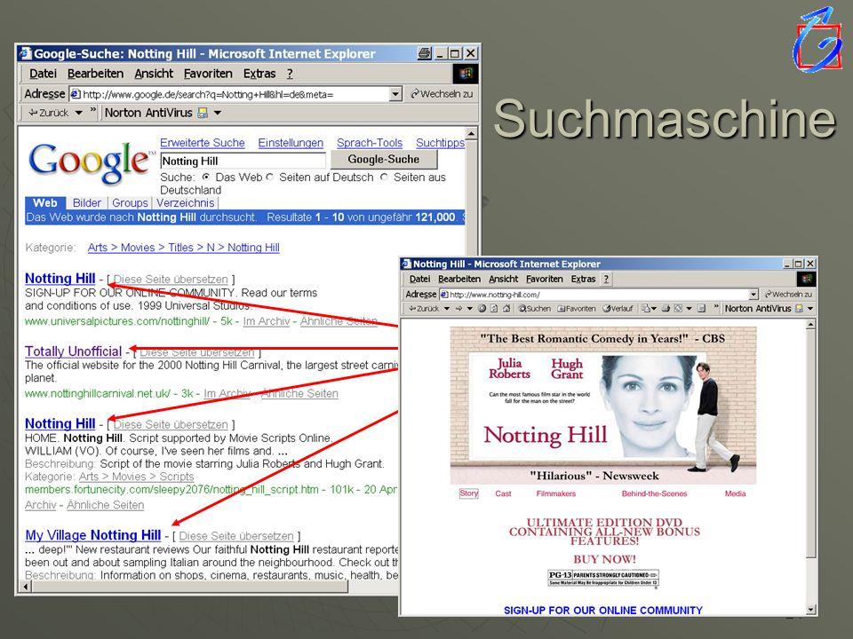 Suchmaschine  die Seite erscheint ... Suchergebnisse