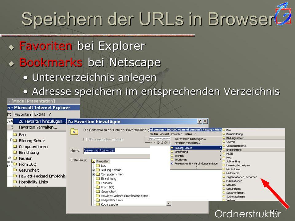 Speichern der URLs in Browser