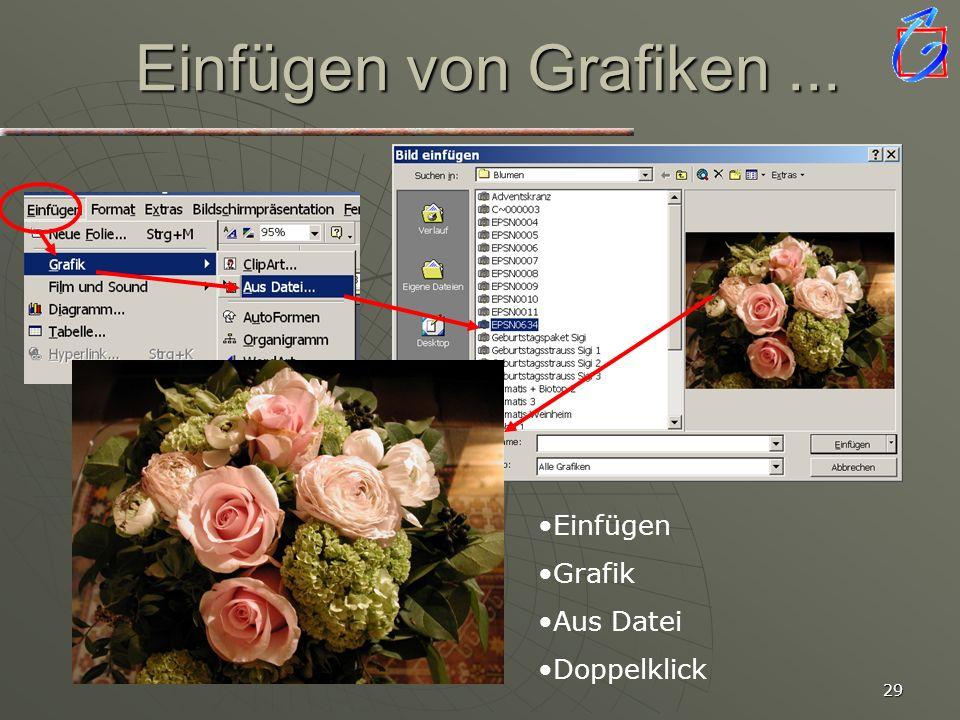 Einfügen von Grafiken ... Einfügen Grafik Aus Datei Doppelklick