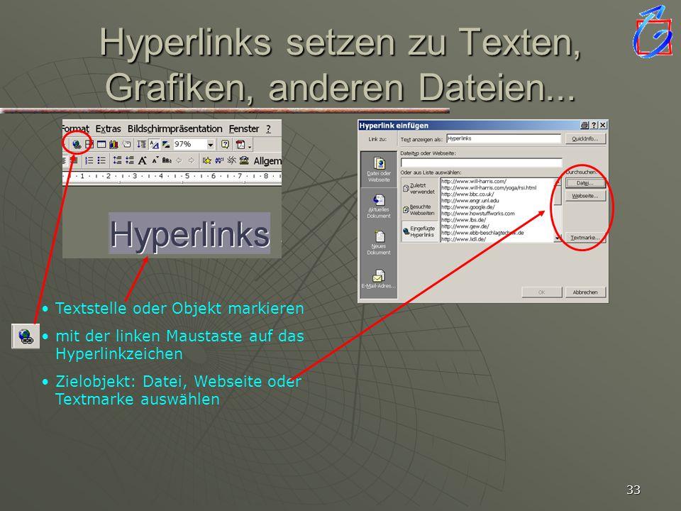 Hyperlinks setzen zu Texten, Grafiken, anderen Dateien...