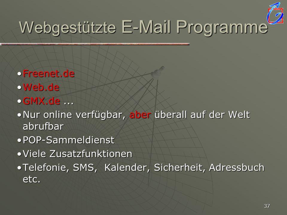 Webgestützte E-Mail Programme