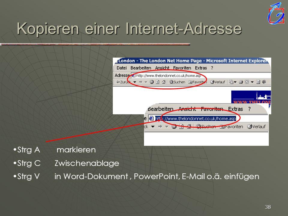 Kopieren einer Internet-Adresse