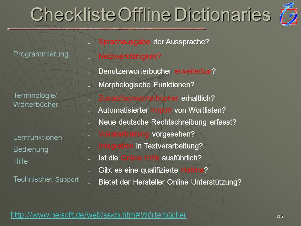 Checkliste Offline Dictionaries