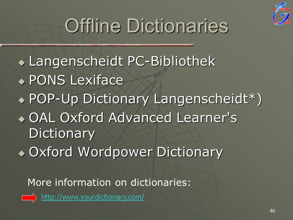 Offline Dictionaries Langenscheidt PC-Bibliothek PONS Lexiface